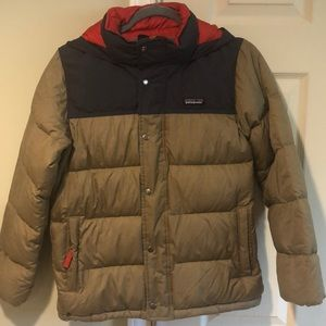 Patagonia Kids Hooded Down Jacket Coat, Tan & Navy